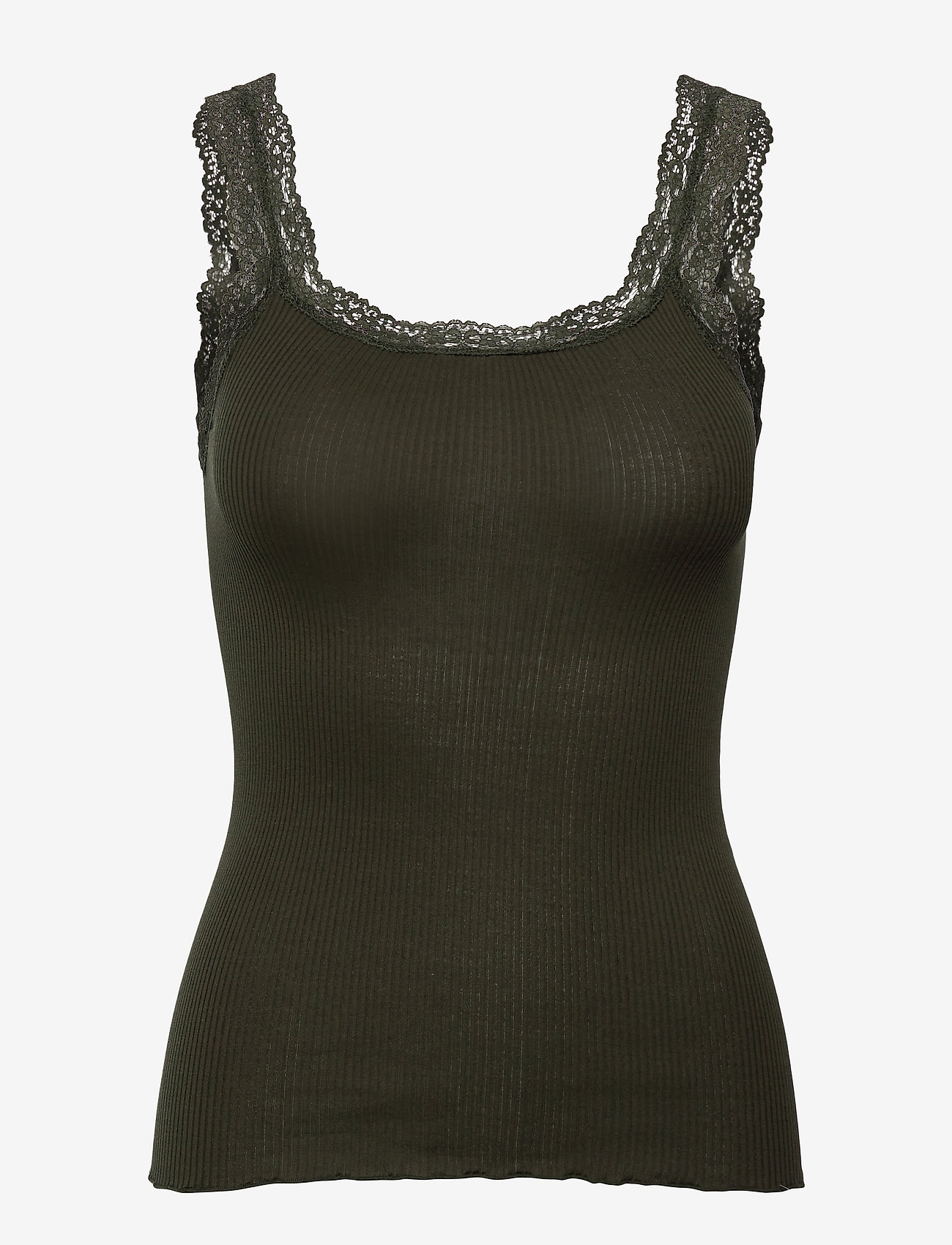 Rosemunde - Silk top w/lace - Ärmlösa blusar - black green - 0