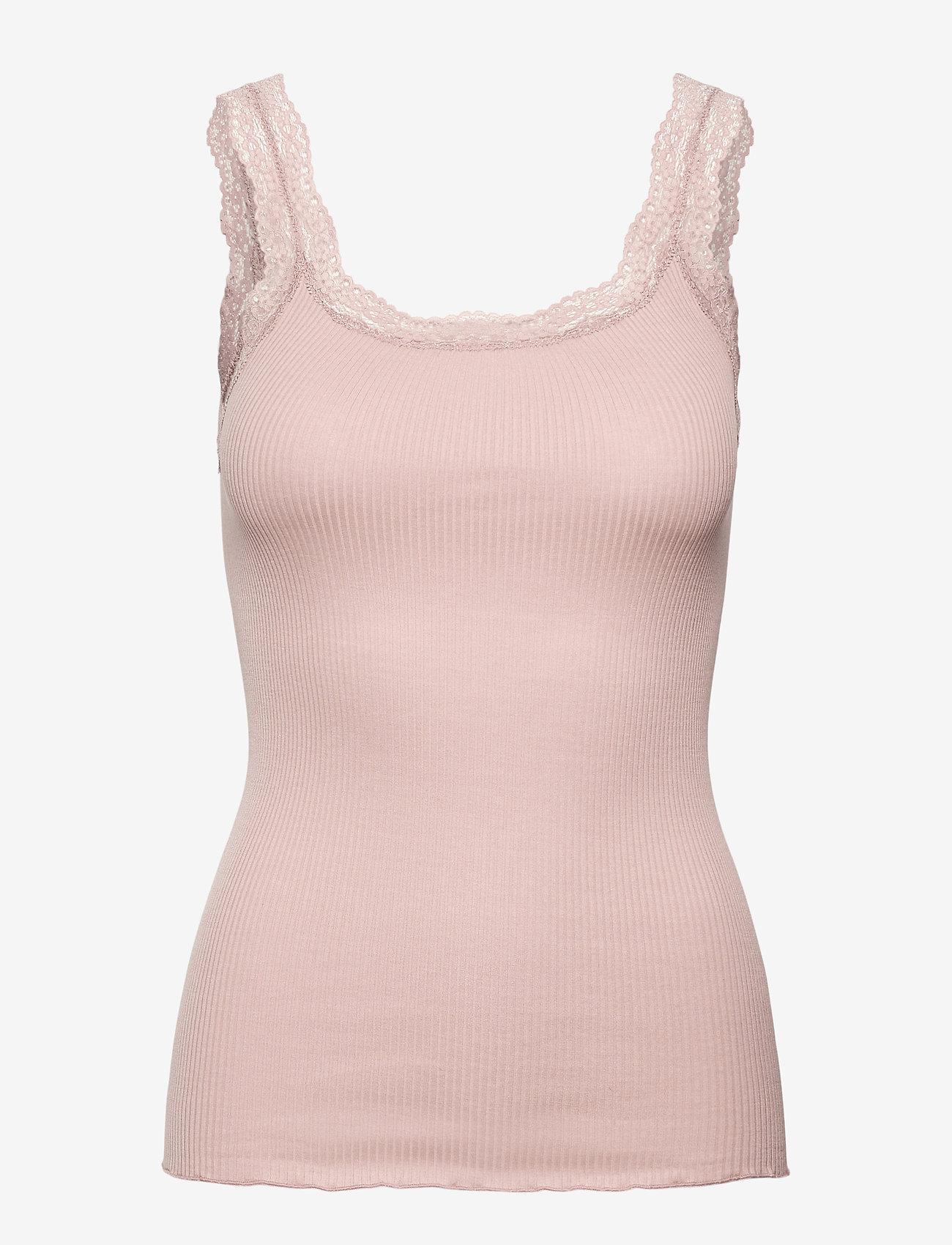 Rosemunde - Silk top w/lace - blouses zonder mouwen - vintage powder - 0