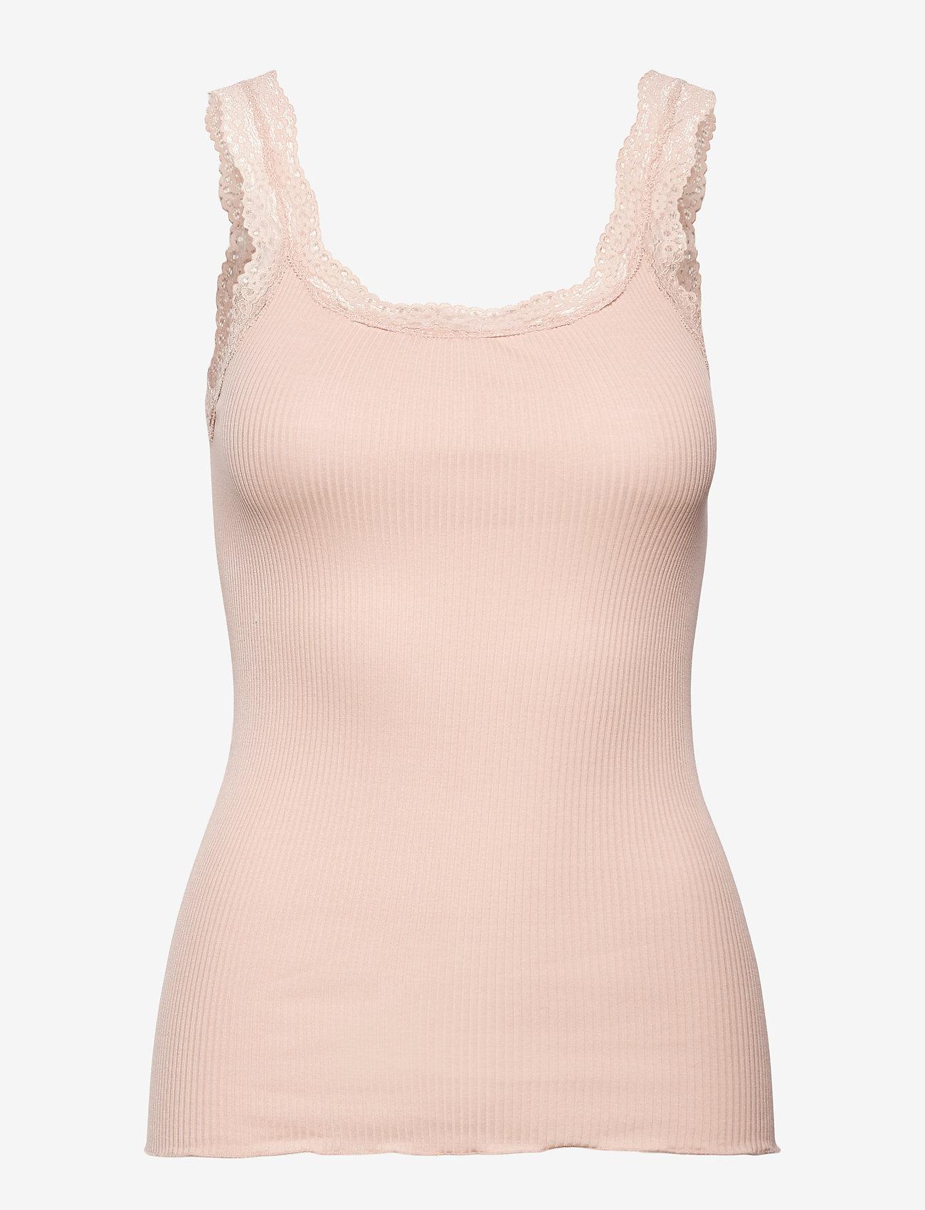 Rosemunde - Silk top w/lace - Ärmlösa blusar - warm pearl - 0
