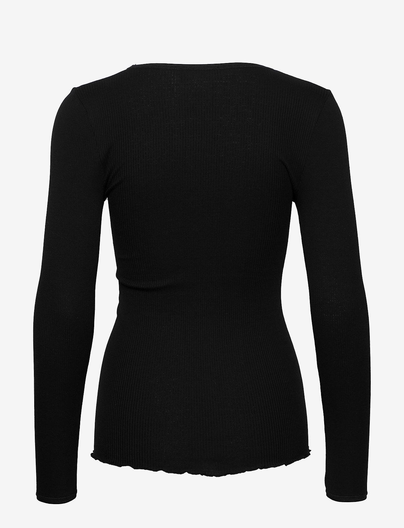 Rosemunde - Silk t-shirt w/ elastic band - långärmade toppar - black - 1