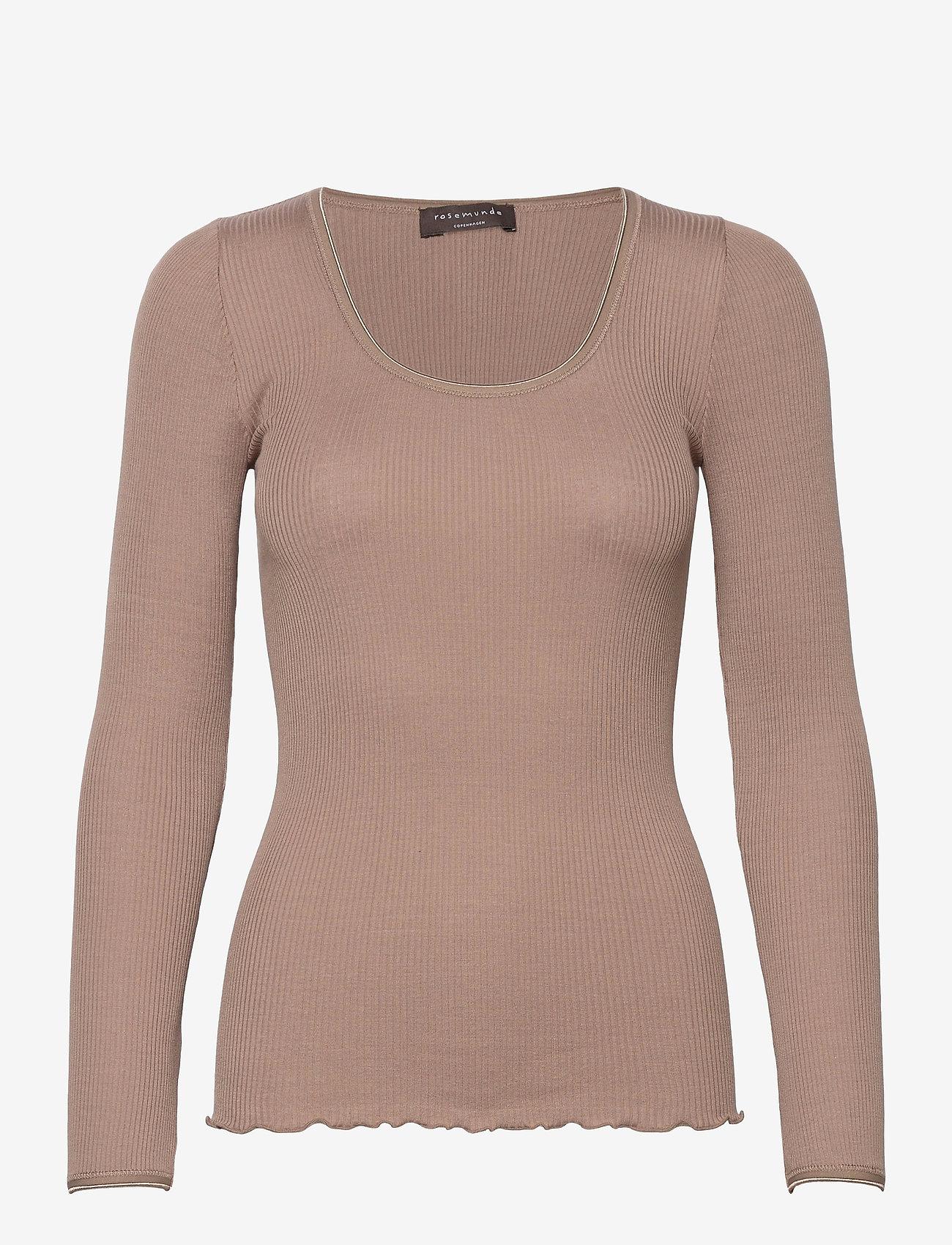 Rosemunde - Silk t-shirt w/ elastic band - långärmade toppar - dark sand - 0