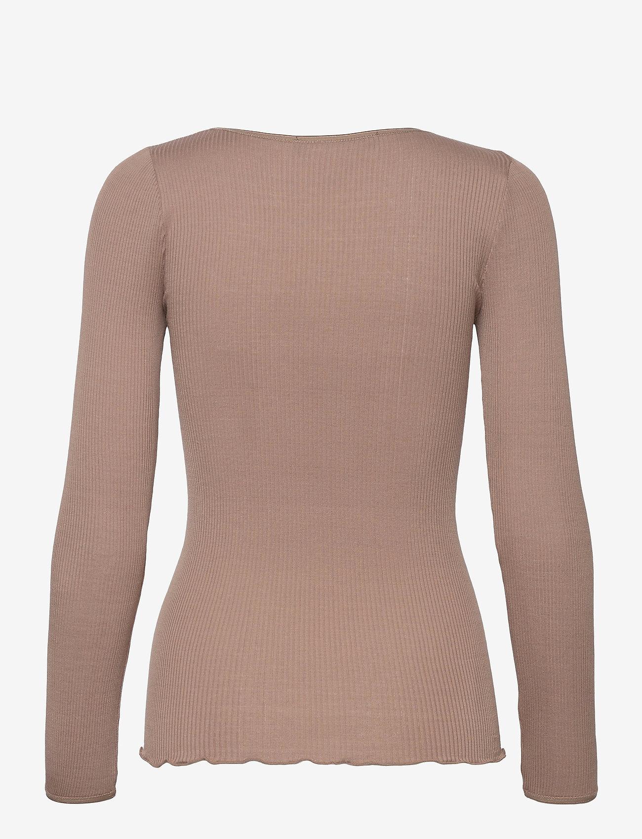 Rosemunde - Silk t-shirt w/ elastic band - långärmade toppar - dark sand - 1