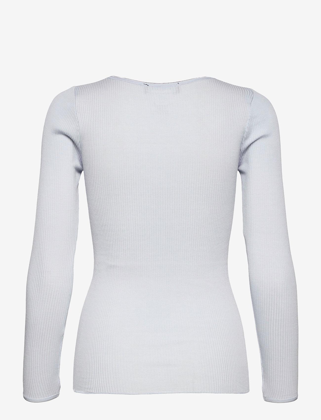 Rosemunde - Silk t-shirt w/ elastic band - långärmade toppar - heather sky - 1