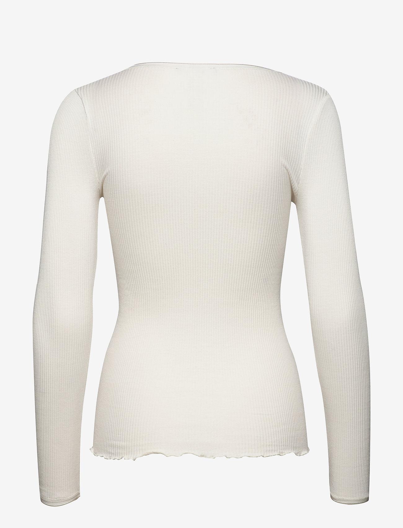 Rosemunde - Silk t-shirt w/ elastic band - långärmade toppar - ivory - 1