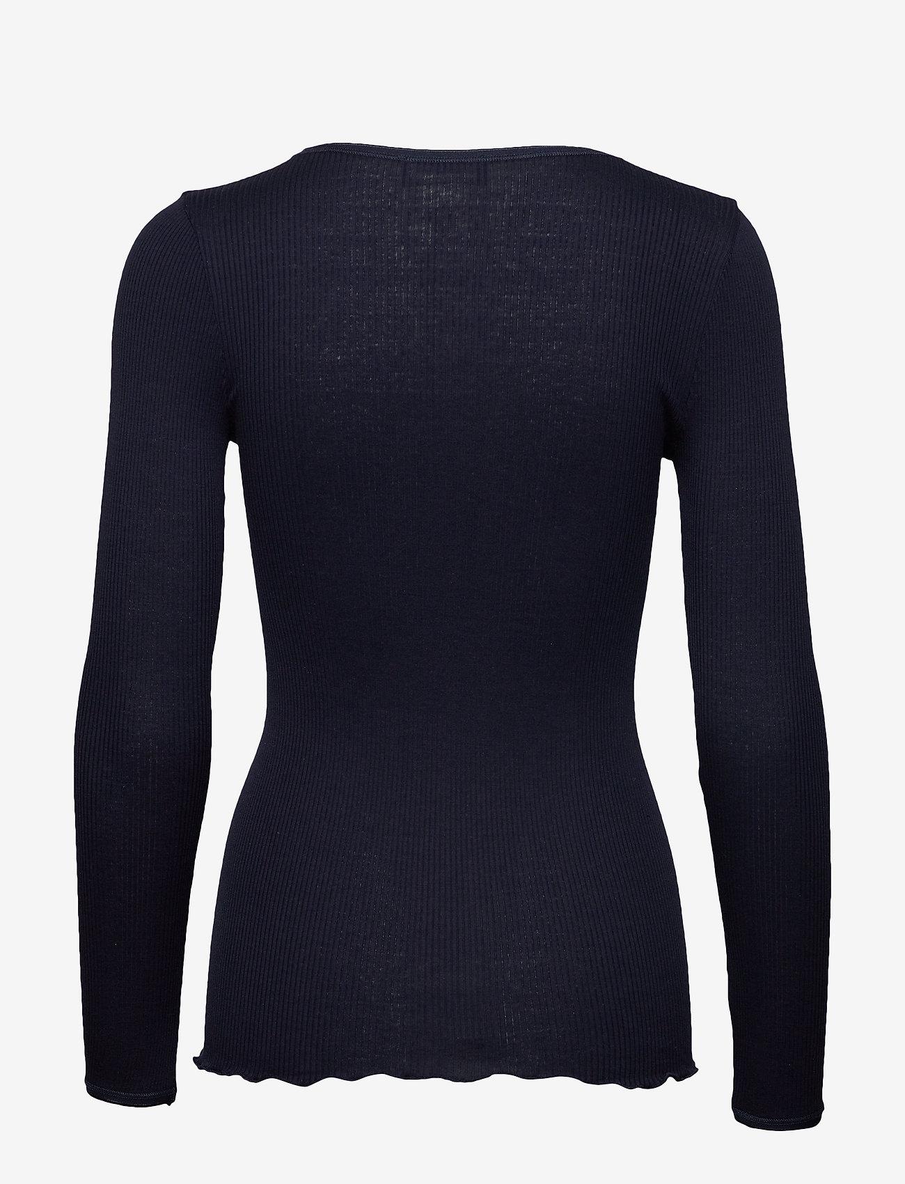Rosemunde - Silk t-shirt w/ elastic band - långärmade toppar - navy - 1