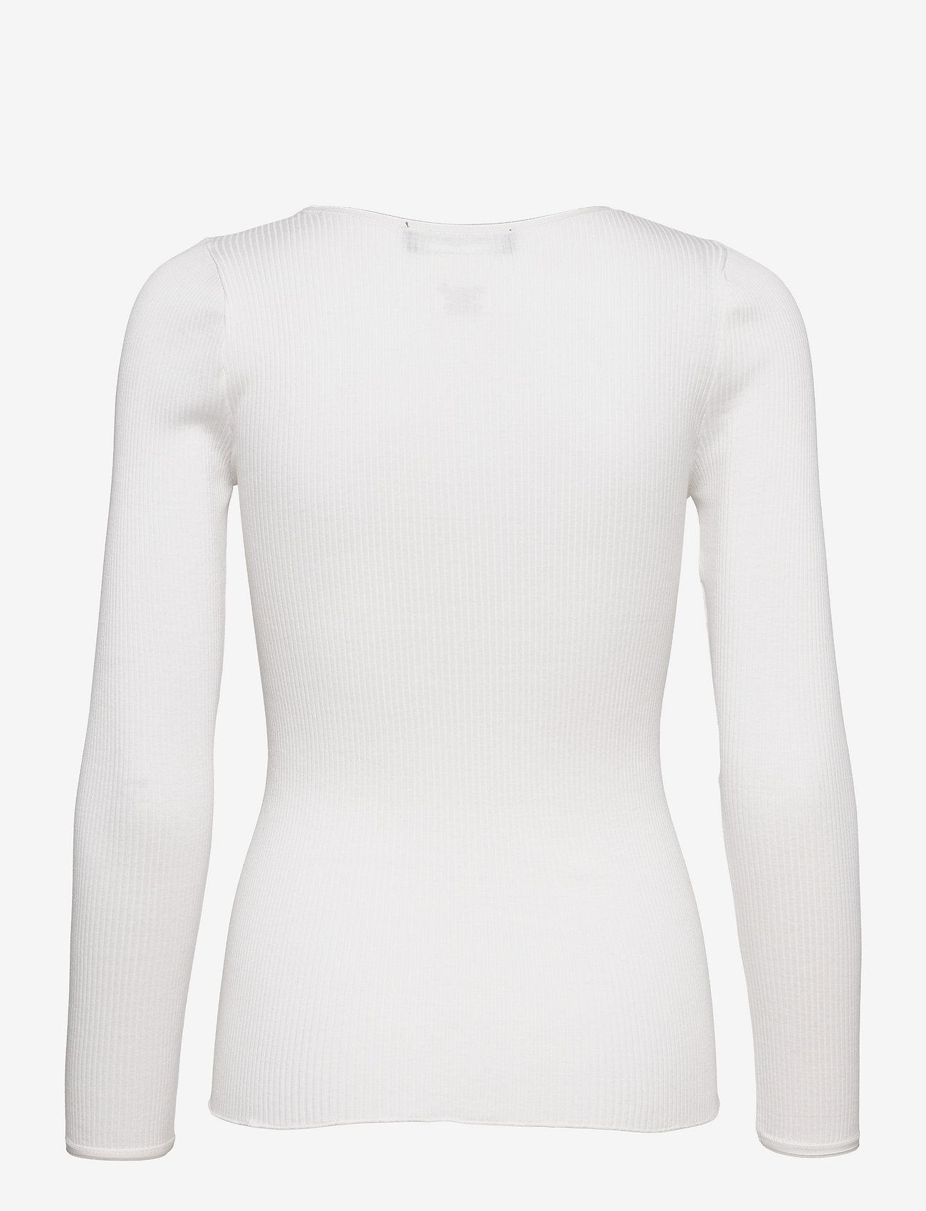 Rosemunde - Silk t-shirt w/ elastic band - långärmade toppar - new white - 1