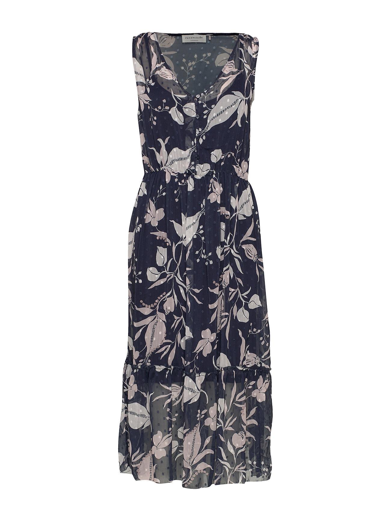 Rosemunde Dress - BLUE LILY POETRY PRINT