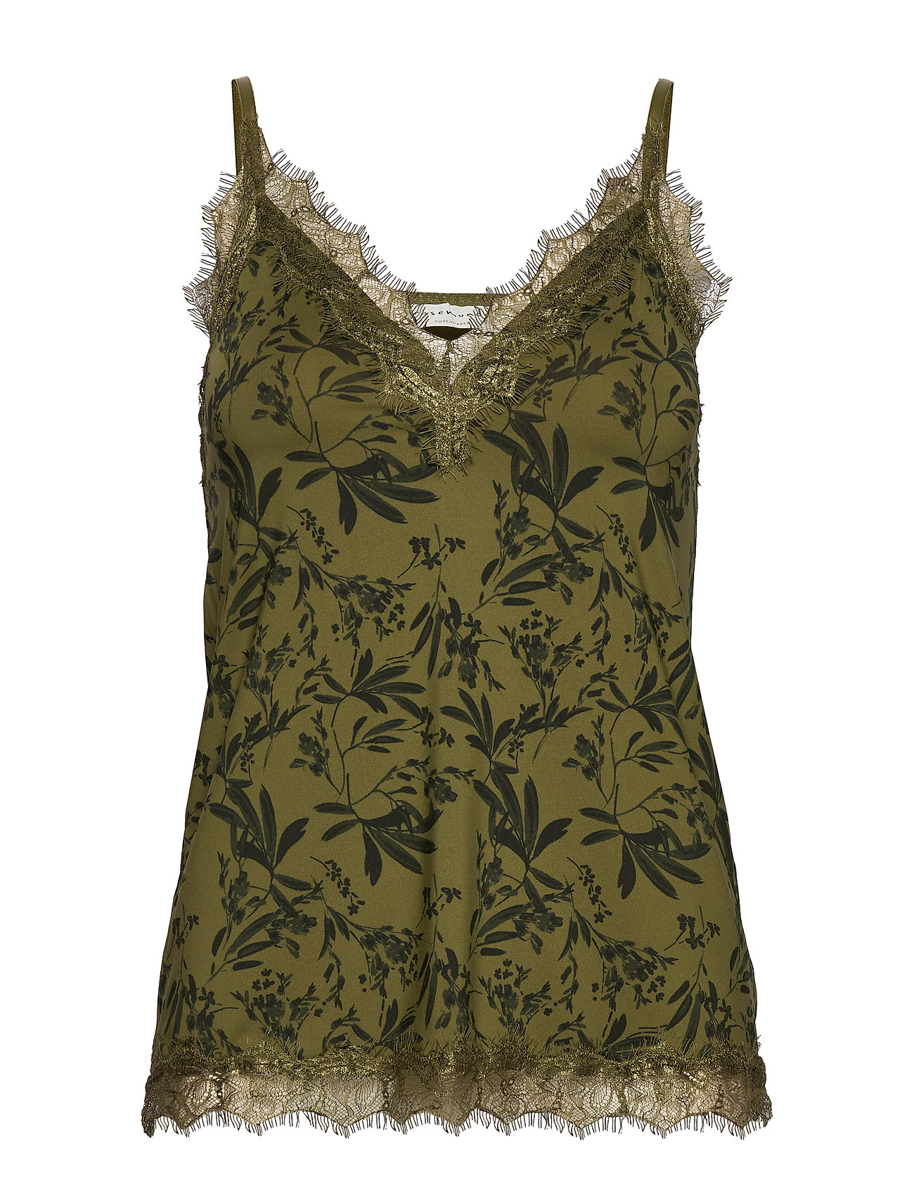 Rosemunde Strap top - GREEN SMALL LEAF PRINT