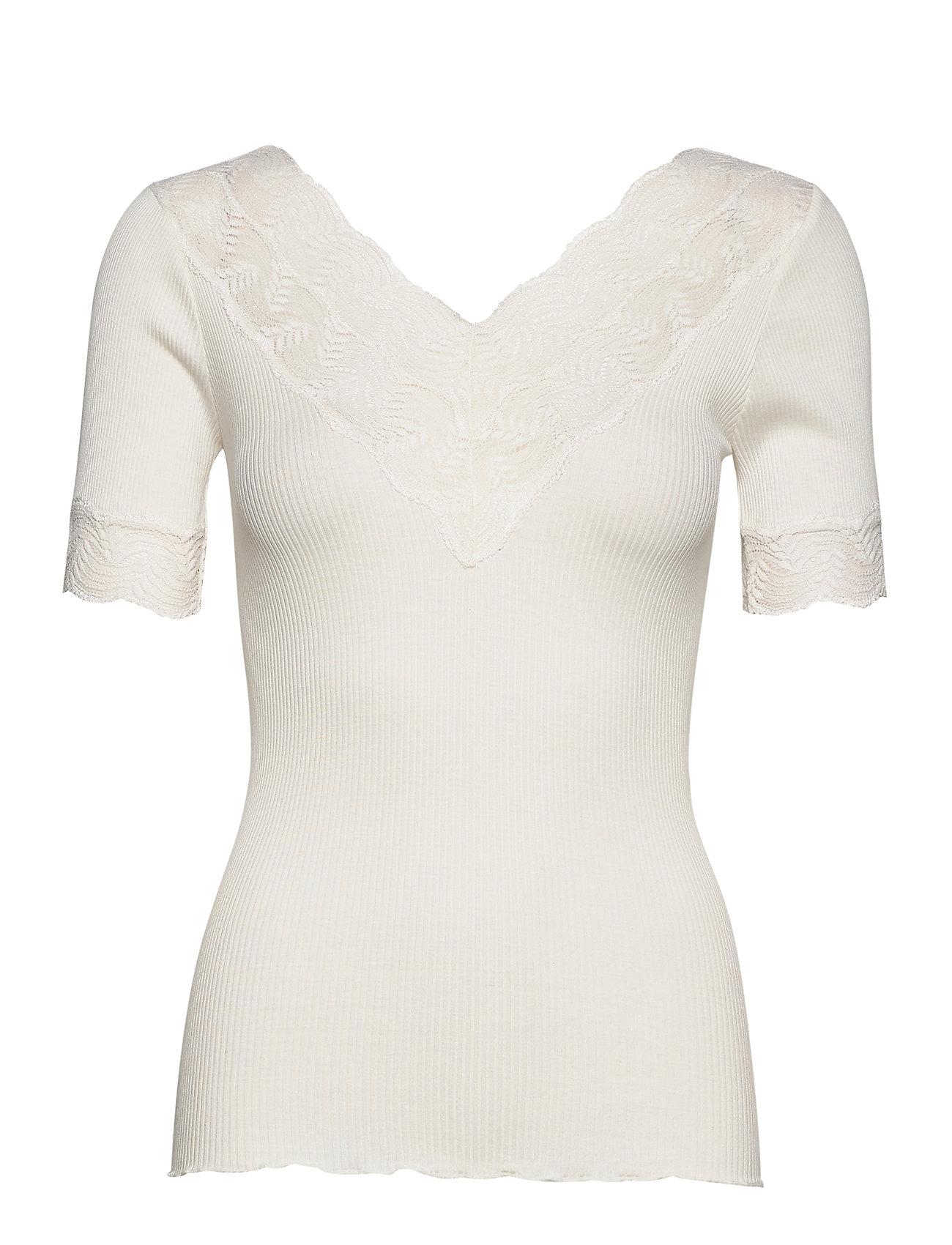 Rosemunde Silk t-shirt regular ss w/lace - IVORY