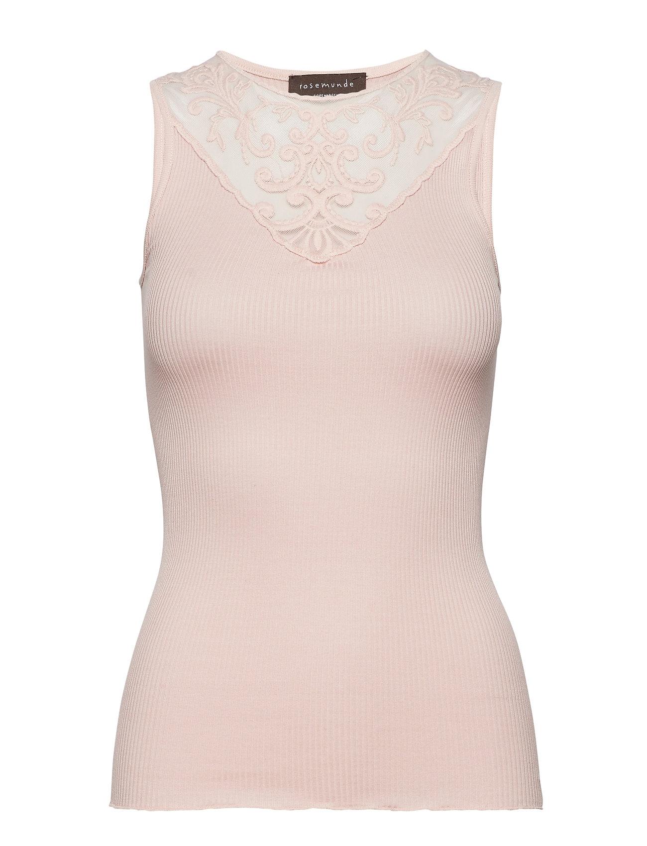 7d5b6ea4 Sort Rosemunde Silk Top Regular W/Lace Ærmeløse t-shirts & toppe for ...