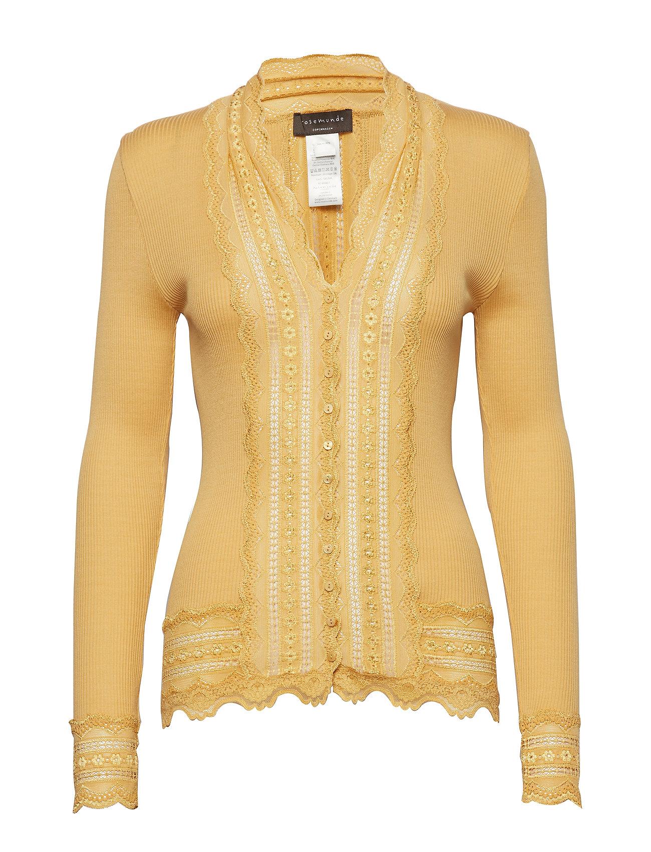 Rosemunde Silk cardigan regular ls w/wide lac - FALL LEAF