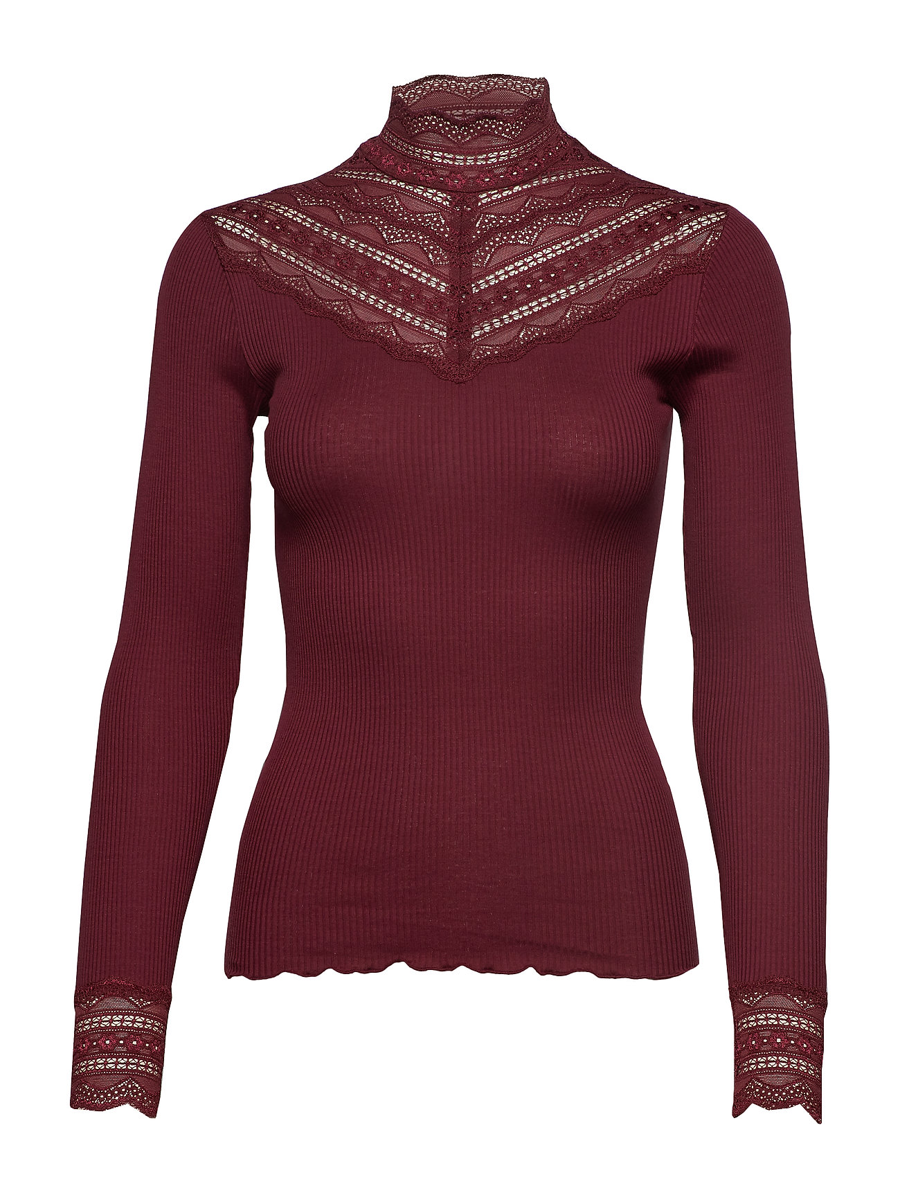 Rosemunde Silk t-shirt regular ls w/wide lace - SOFT WINE