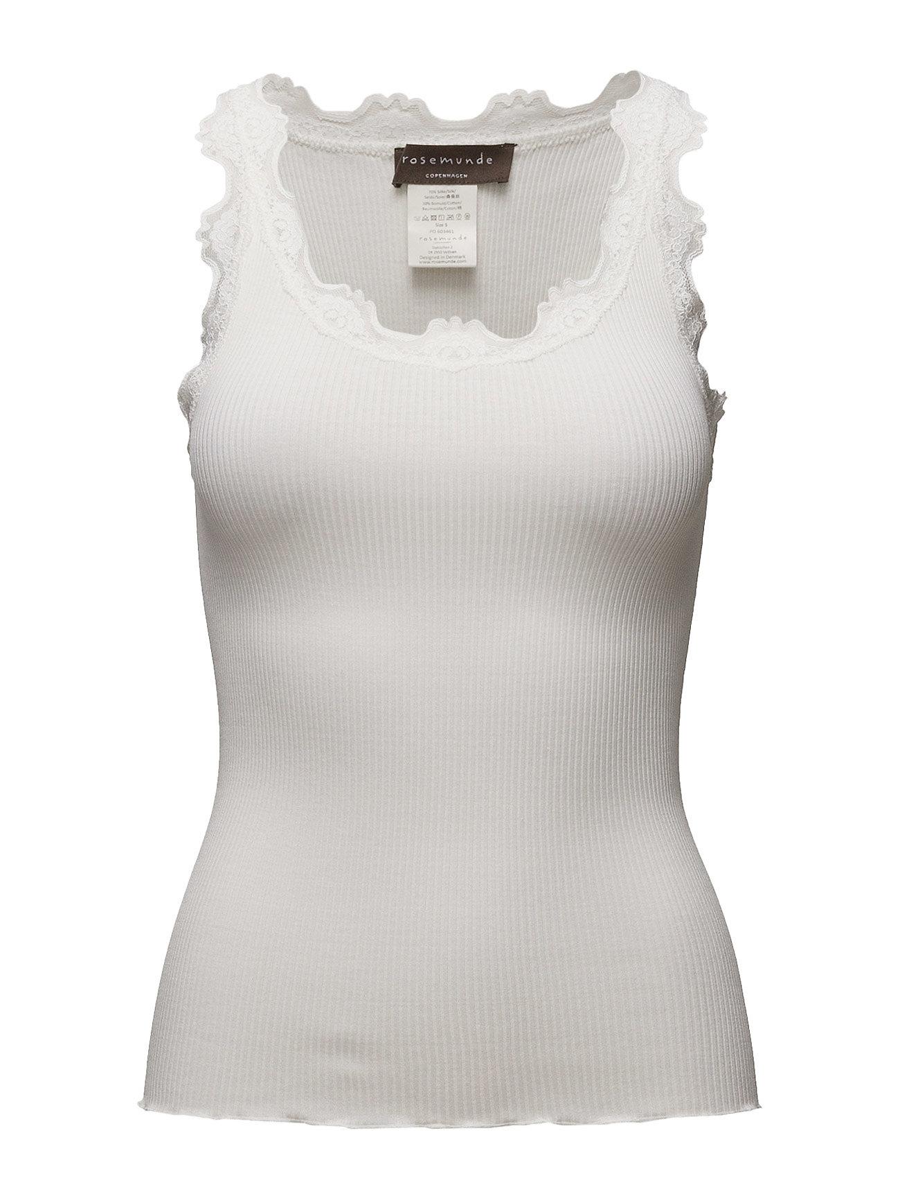 Rosemunde Silk top regular w/vintage lace - NEW WHITE