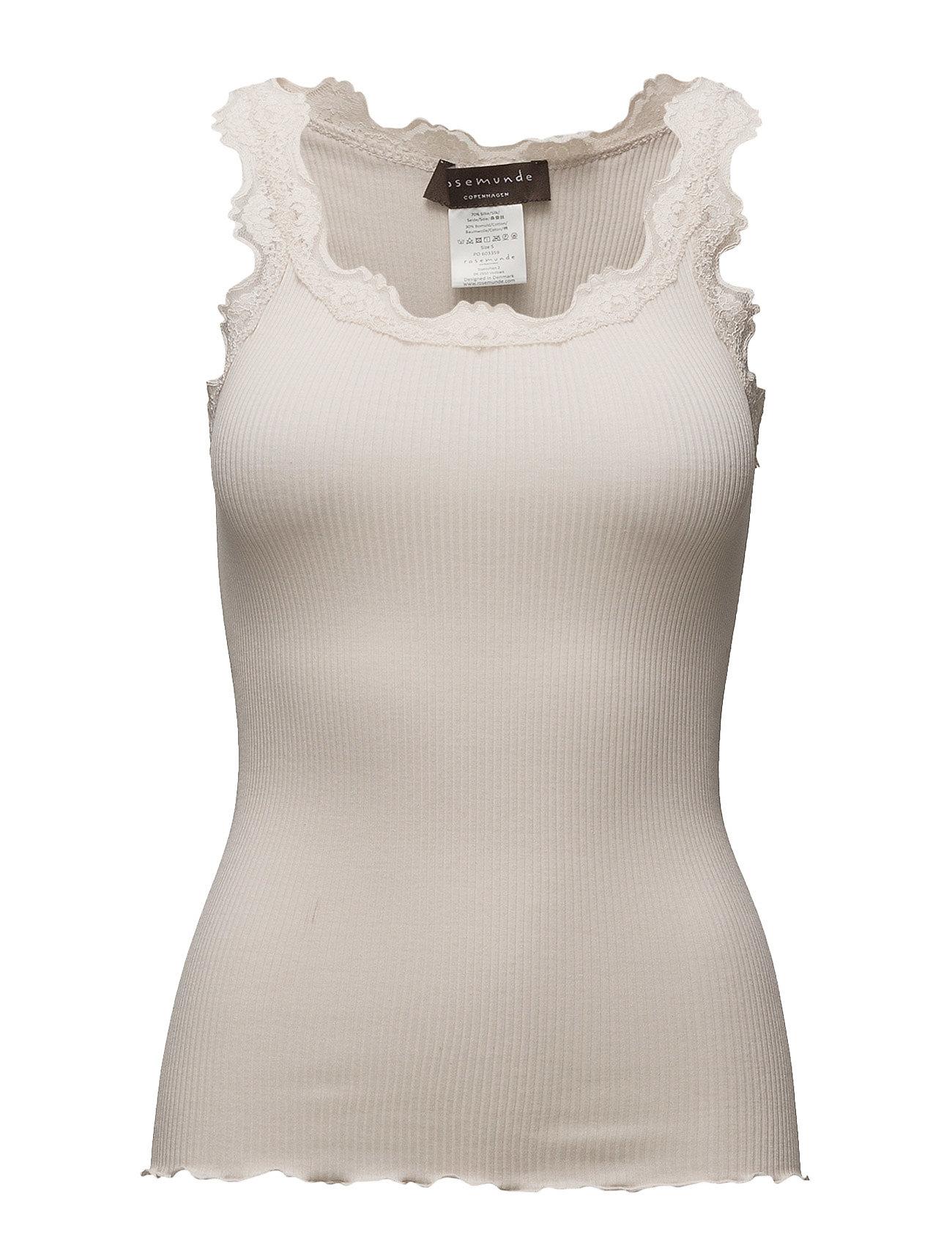 Rosemunde Silk top regular w/vintage lace - SOFT POWDER