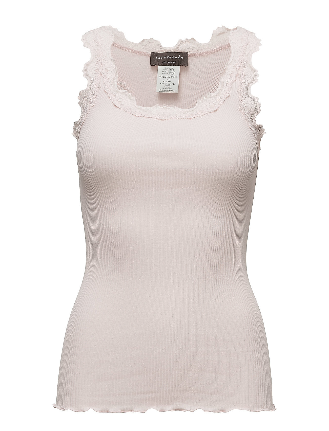 Rosemunde Silk top regular w/vintage lace - SOFT ROSE