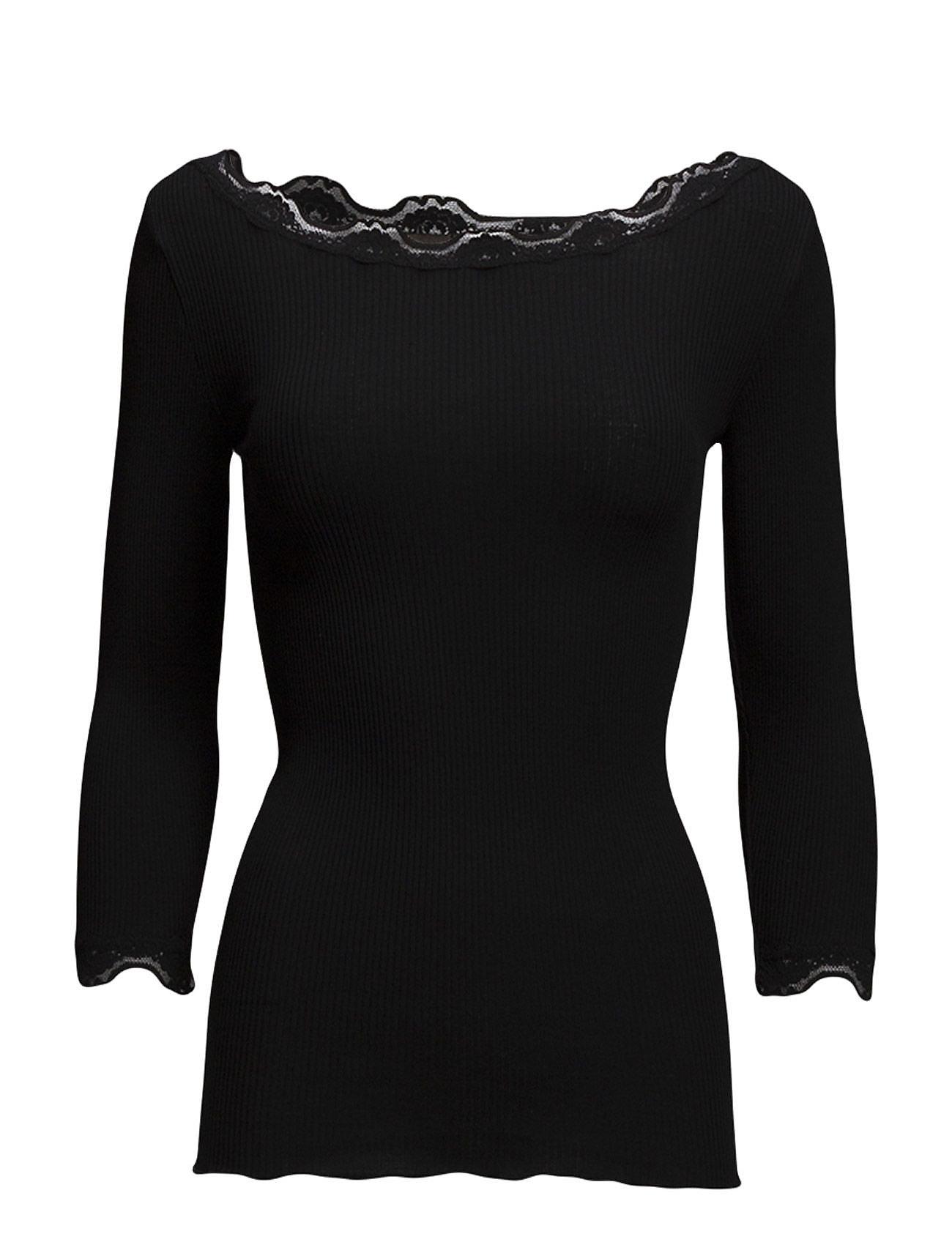 Rosemunde Silk t-shirt boat neck regular w/vi - BLACK