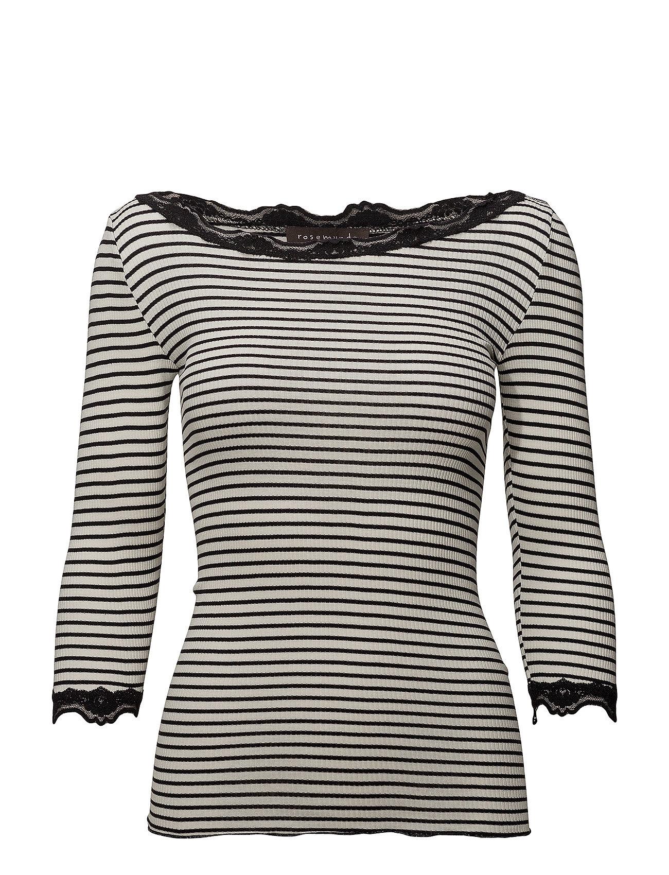 Rosemunde Silk t-shirt boat neck regular w/vi - IVORY BLACK STRIPE