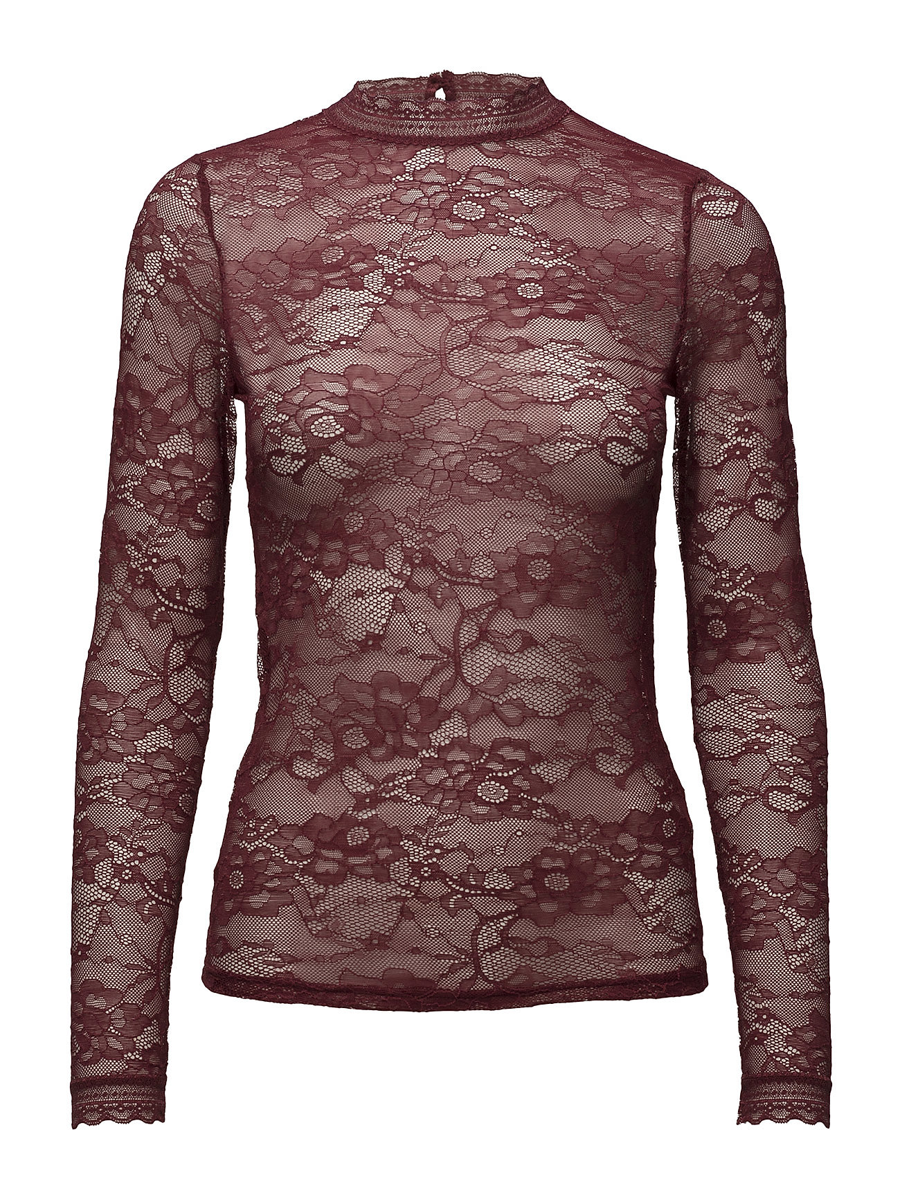 Rosemunde T-shirt regular ls w/lace - CABERNET