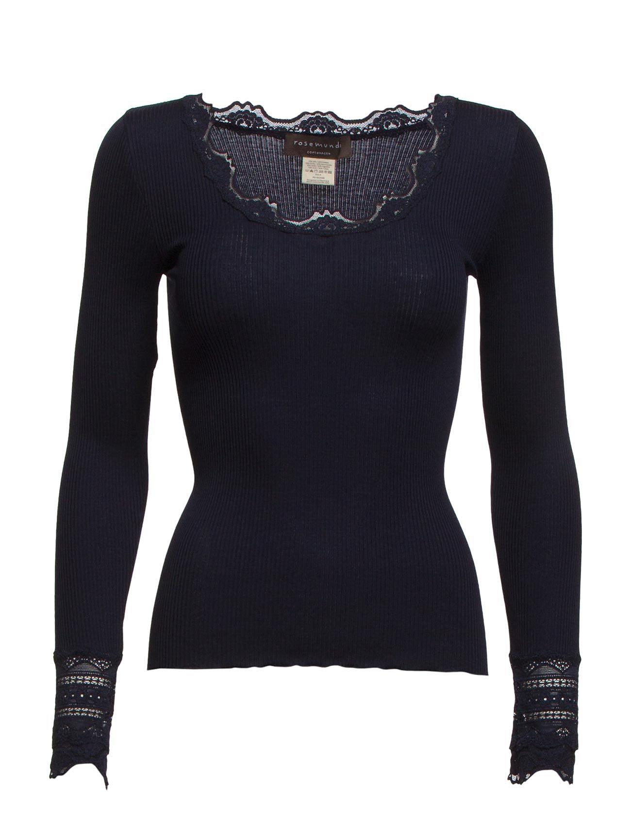 Rosemunde Silk t-shirt regular ls w/wide lace - NAVY