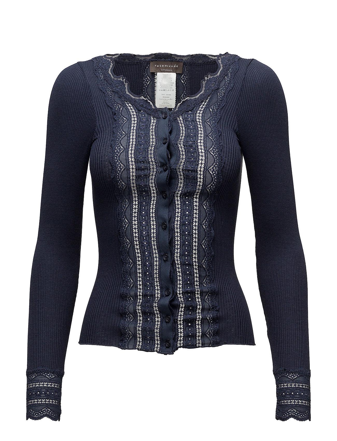 Rosemunde Silk cardigan regular ls w/wide lac - NAVY