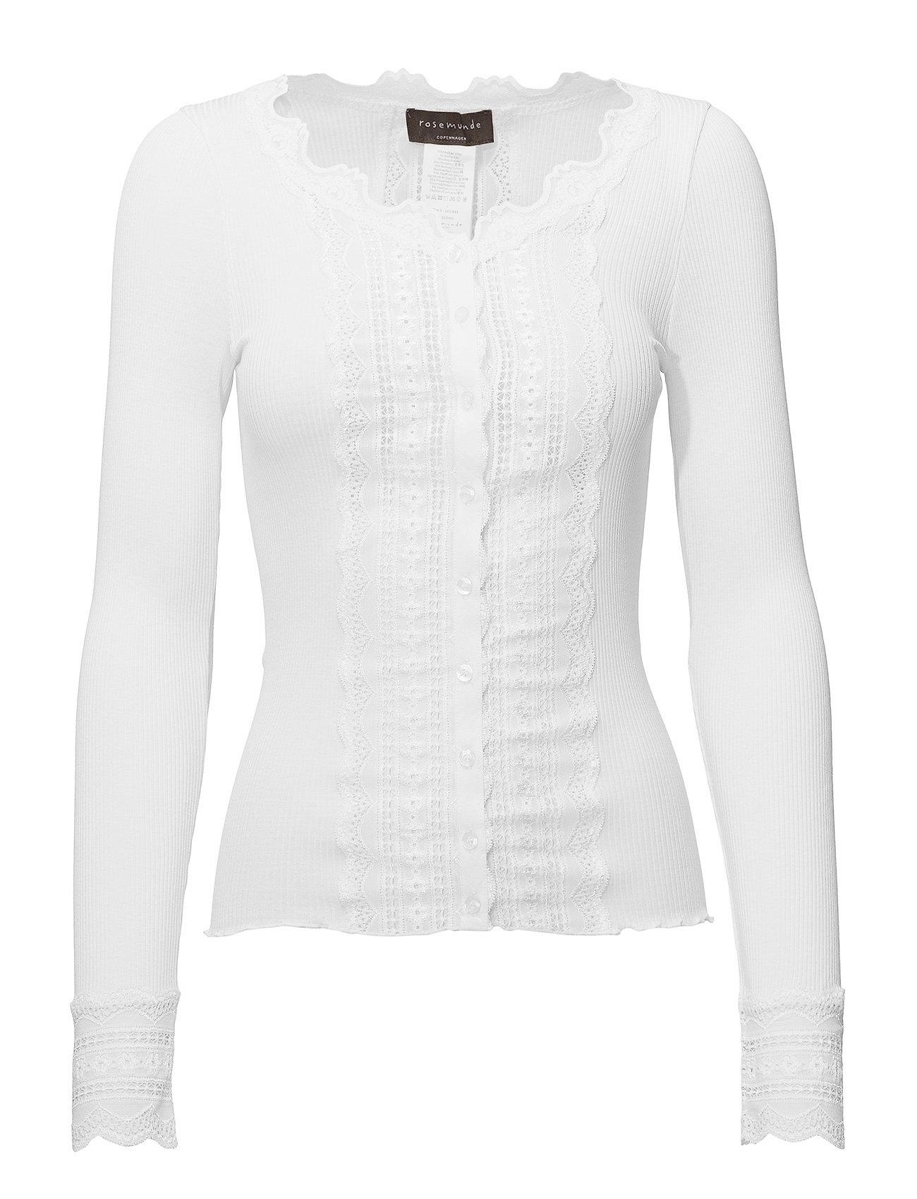 Rosemunde Silk cardigan regular ls w/wide lac - NEW WHITE