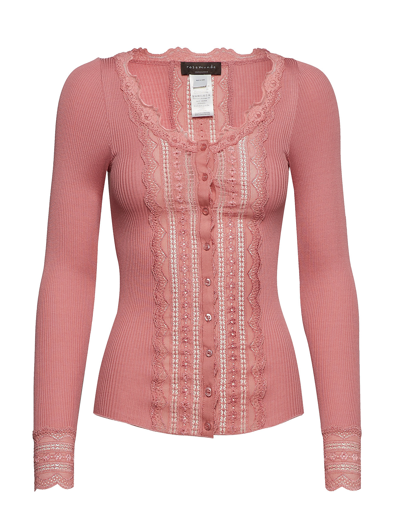 Rosemunde Silk cardigan regular ls w/wide lac - PINK BLUSH