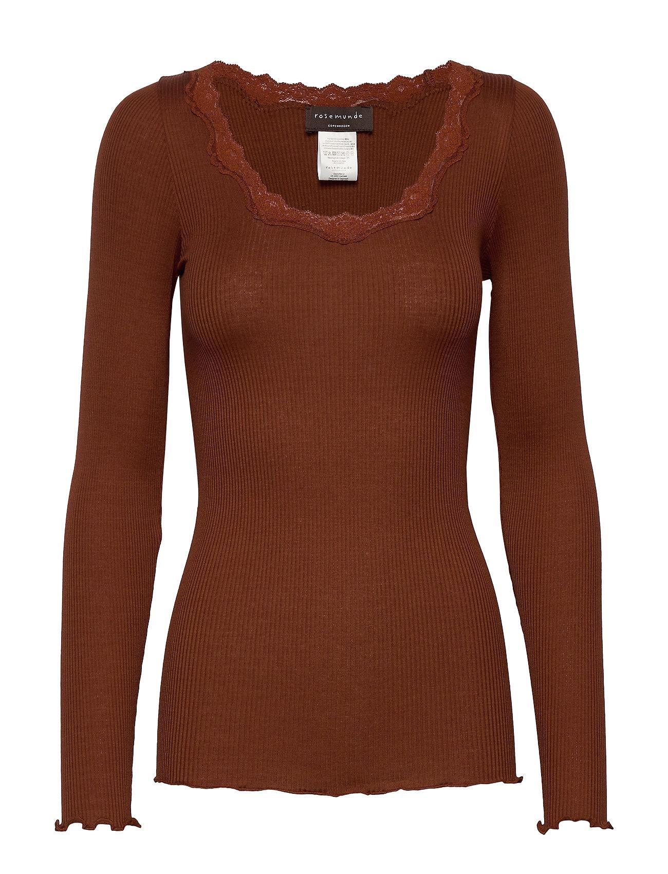 Rosemunde Silk t-shirt ls w/ lace - AMBER BROWN