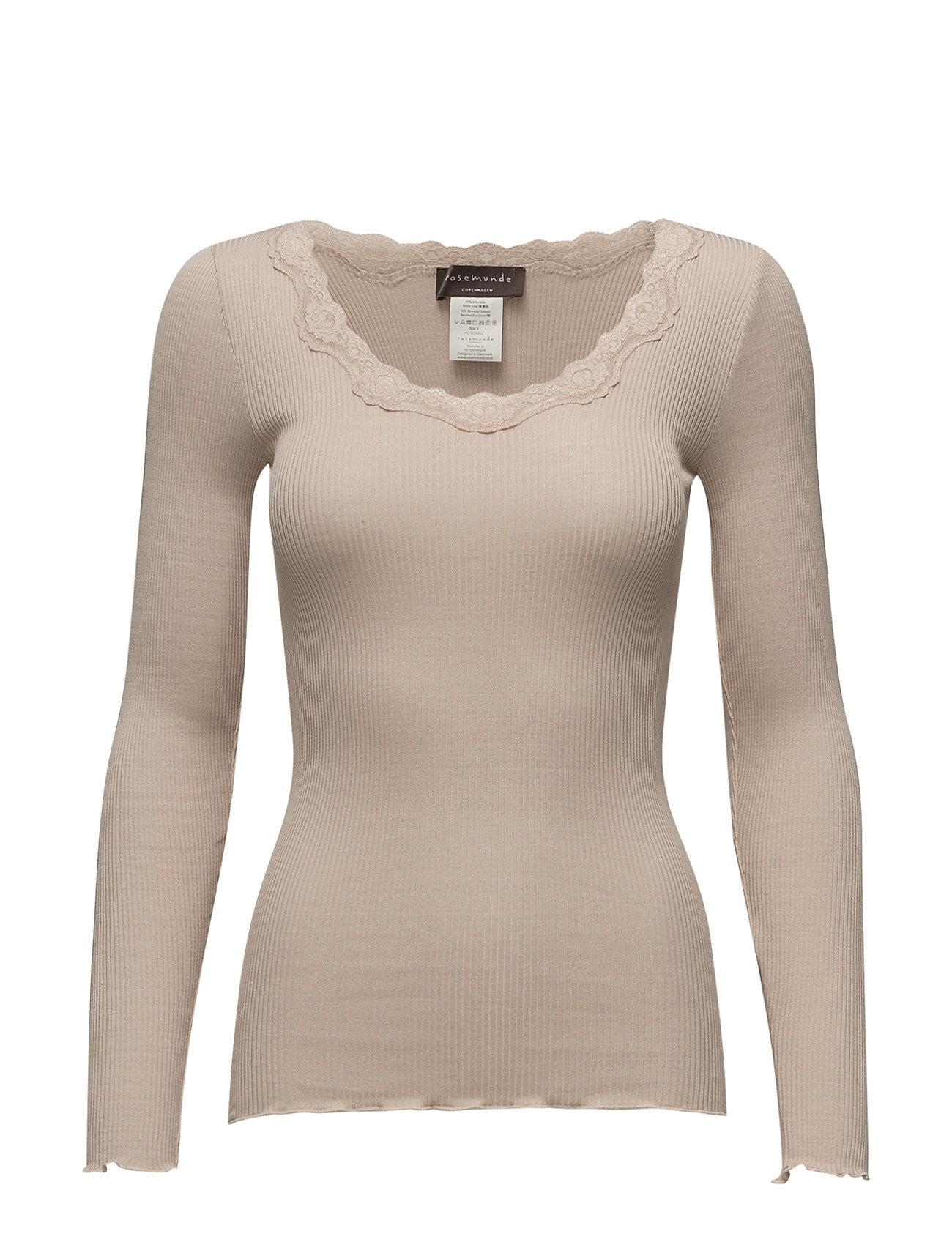Rosemunde Silk t-shirt regular ls w/rev vinta - CACAO