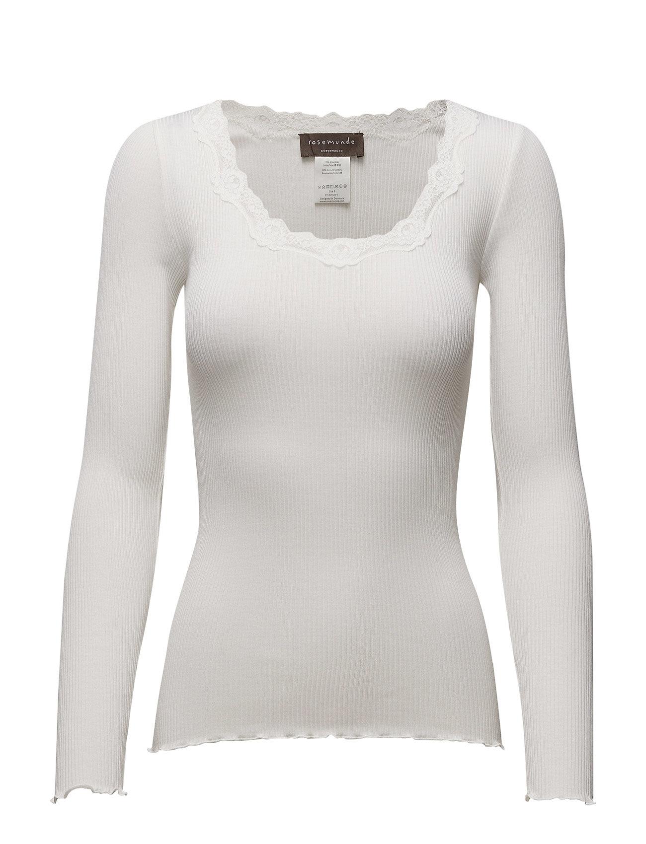 Rosemunde Silk t-shirt regular ls w/rev vinta - NEW WHITE