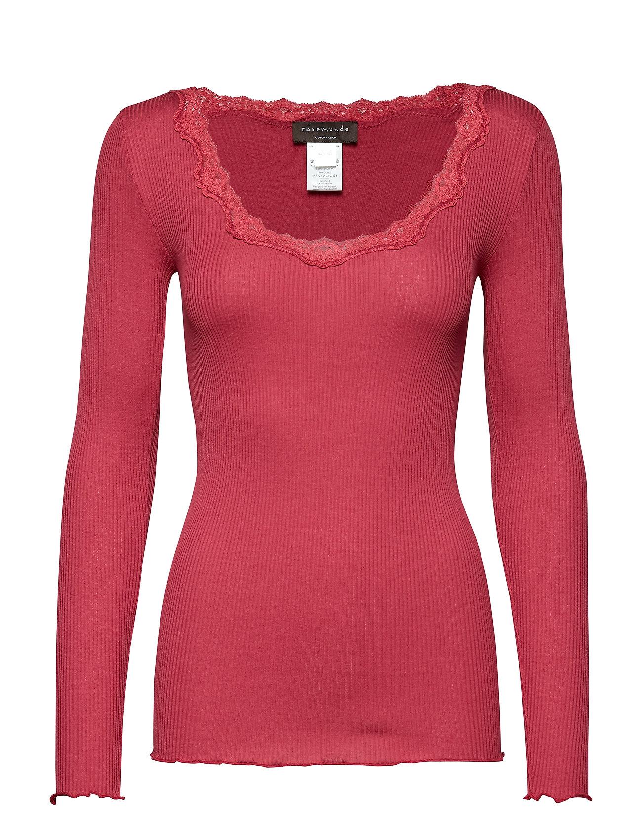 Rosemunde Silk t-shirt regular ls w/rev vinta - SCARLET RED