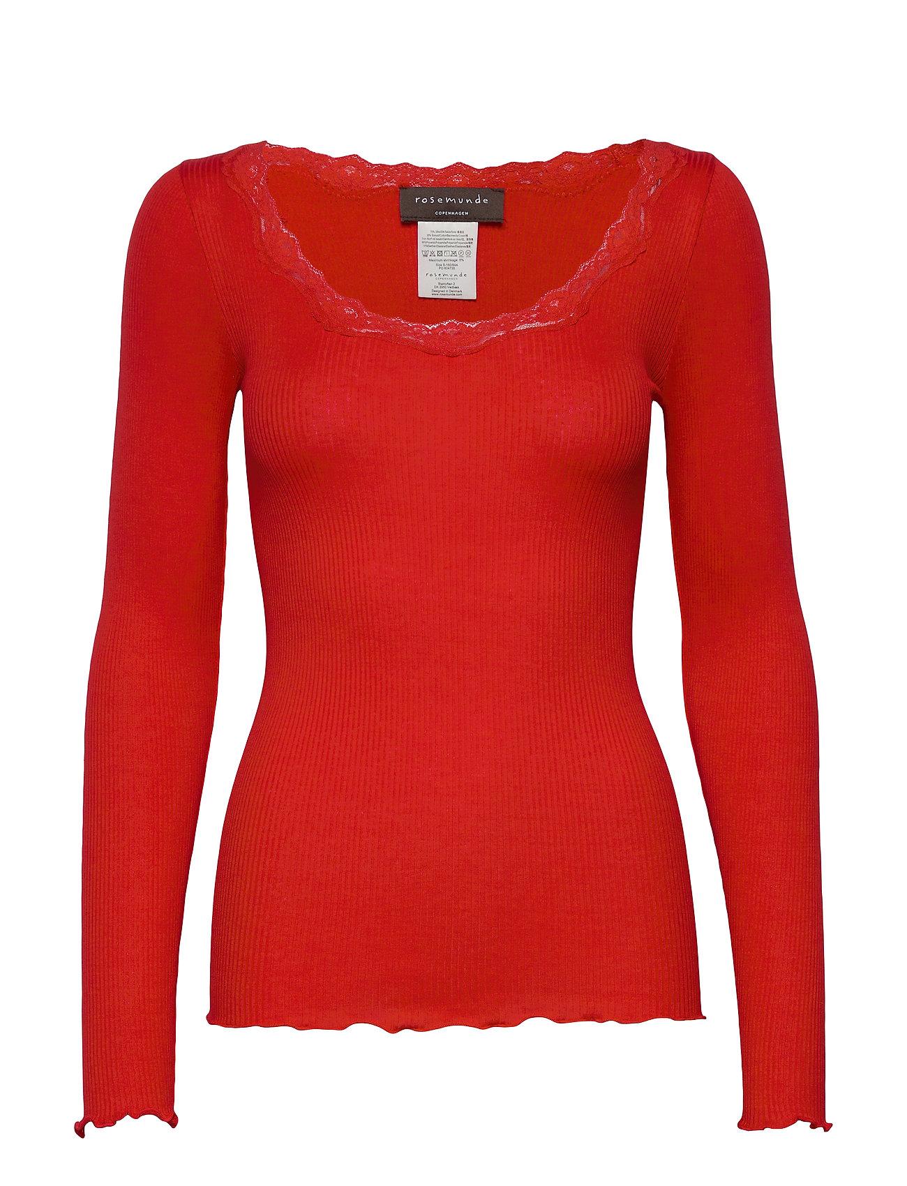 Rosemunde Silk t-shirt regular ls w/rev vinta - SPICY RED