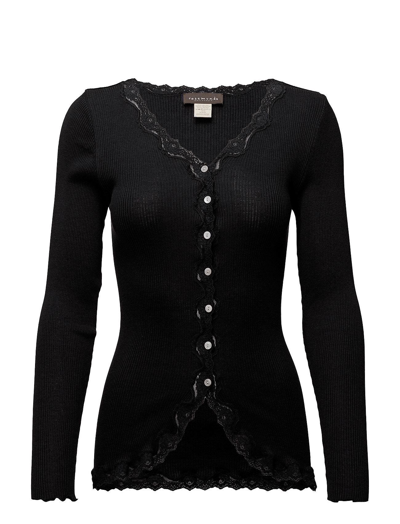 Rosemunde Silk cardigan regular ls w/rev vint - BLACK