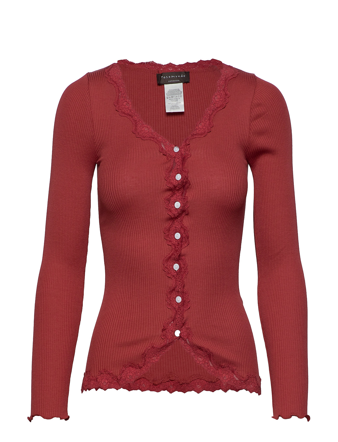 Rosemunde Silk cardigan ls w/ lace - BURNT RED