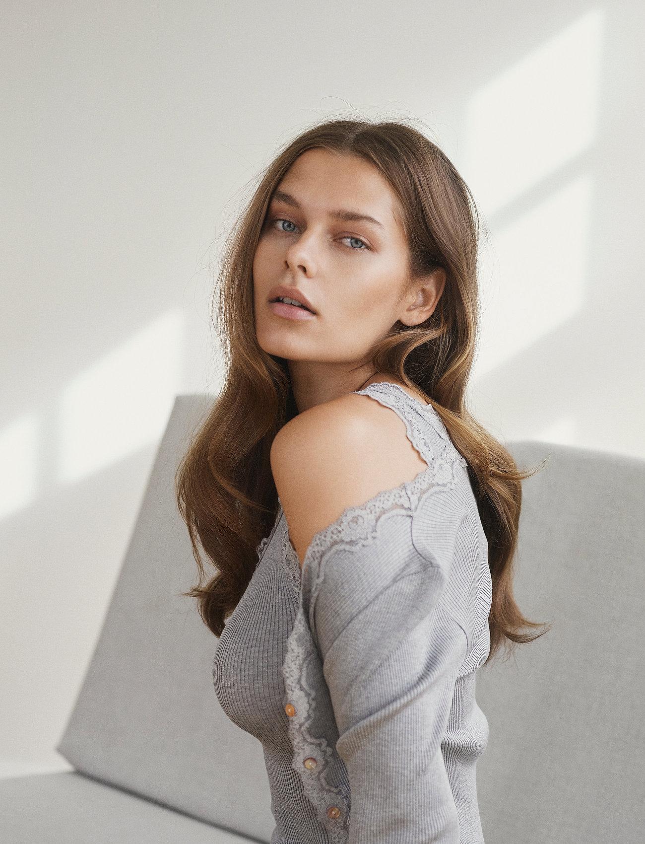 Rosemunde - Silk cardigan regular ls w/rev vint - cardigans - dark grey melange - 0
