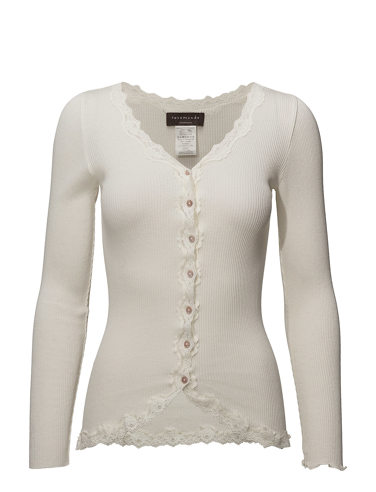 Rosemunde Silk cardigan regular ls w/rev vint - IVORY