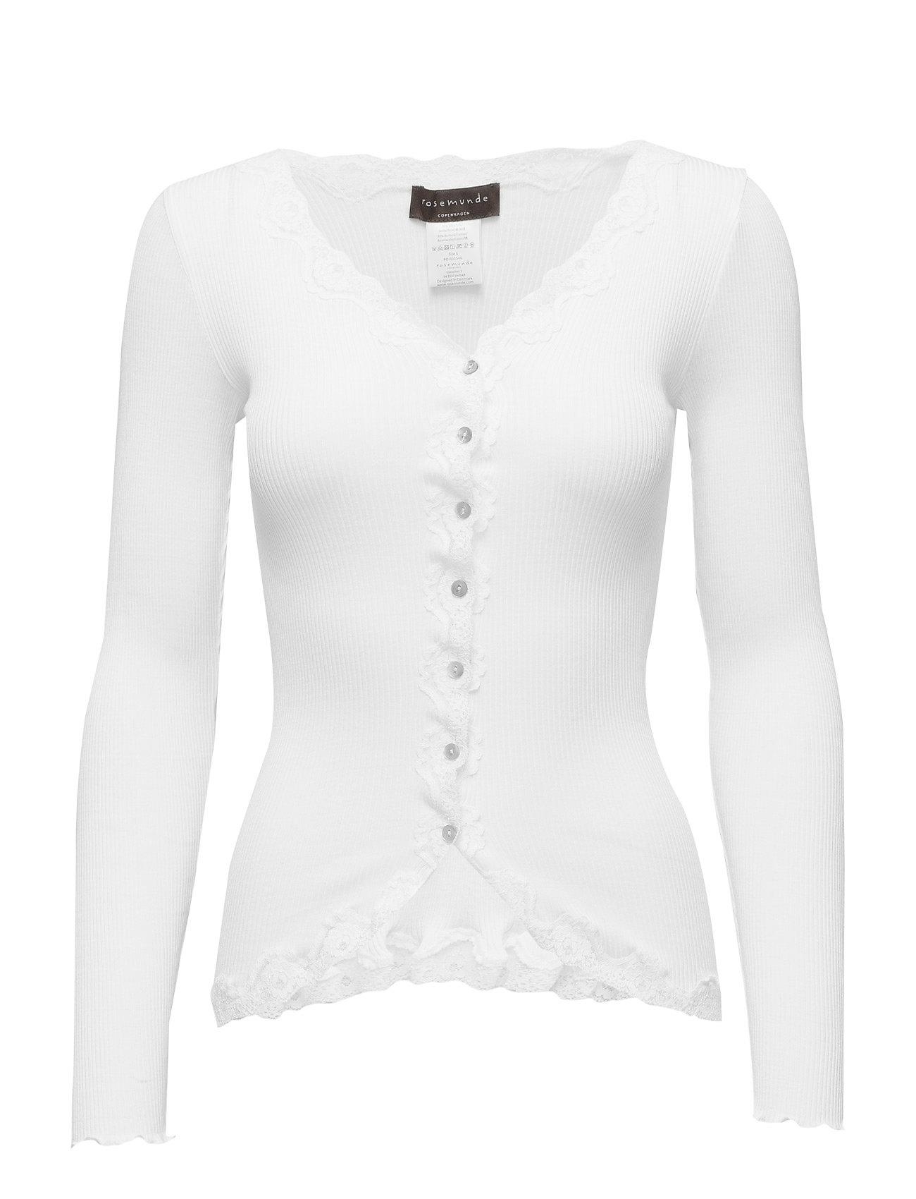 Rosemunde Silk cardigan regular ls w/rev vint - NEW WHITE