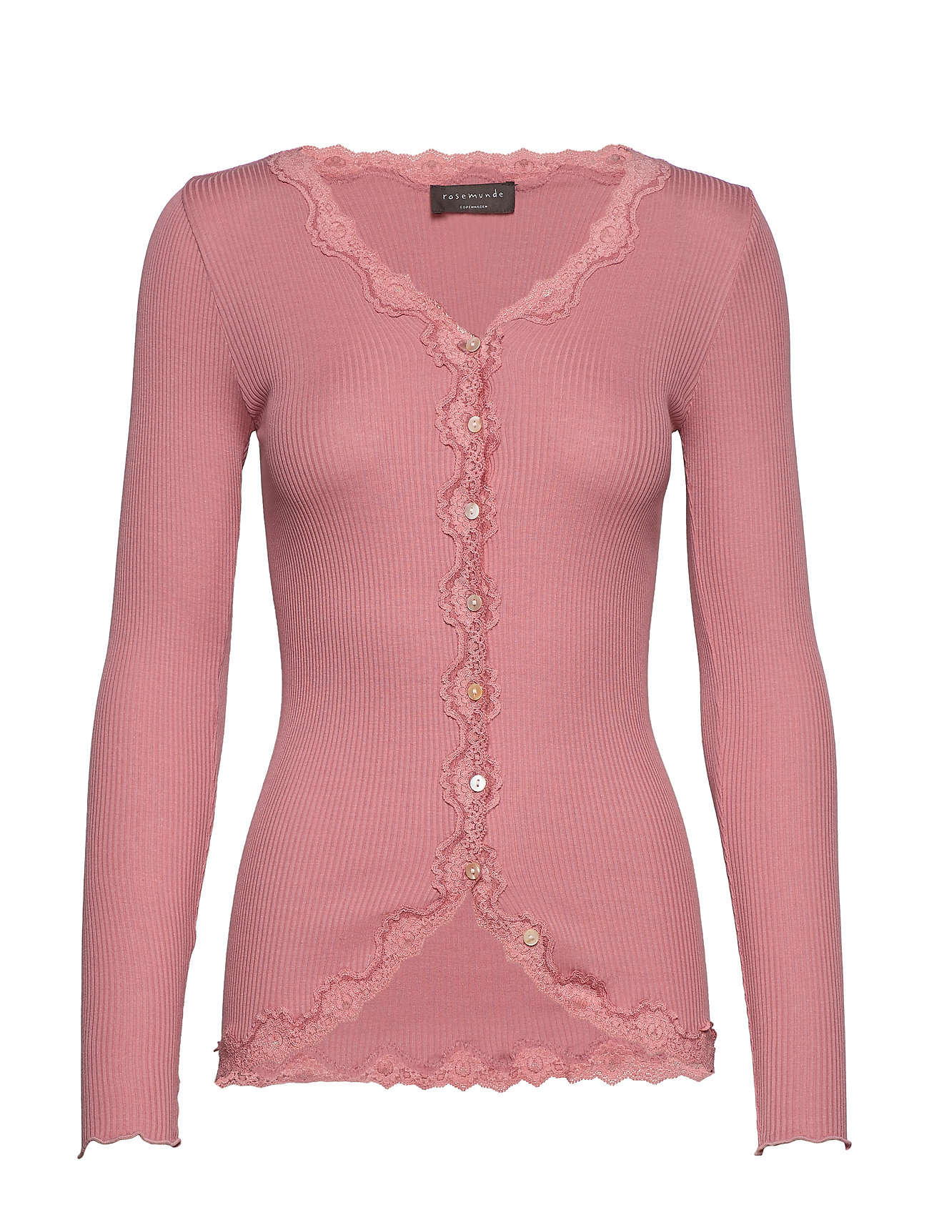 Rosemunde Silk cardigan regular ls w/rev vint - PINK BLUSH