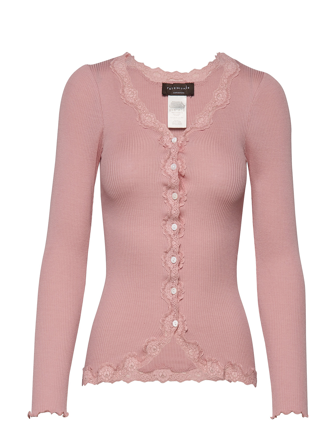 Rosemunde Silk cardigan regular ls w/rev vint - POWDER ROSE