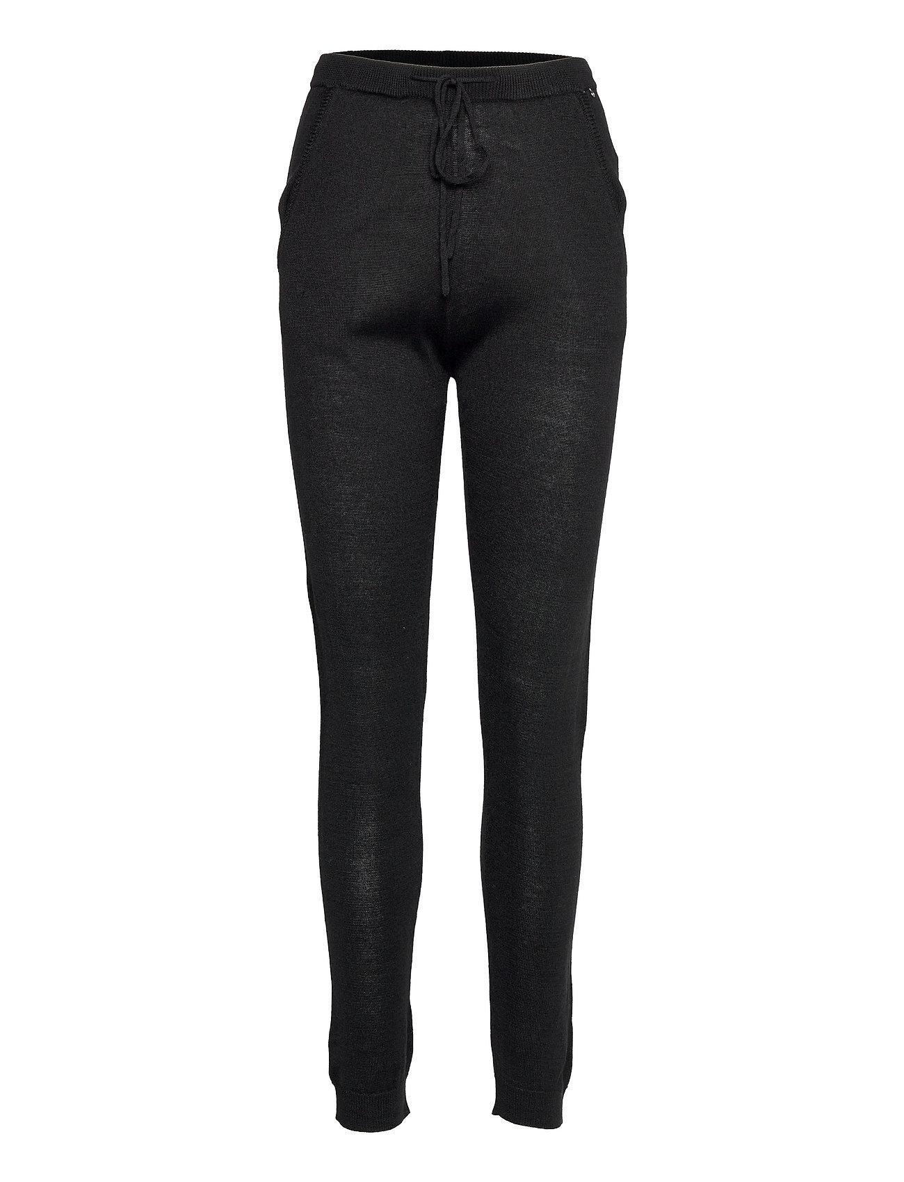Merino Trousers Casual Bukser Sort Rosemunde