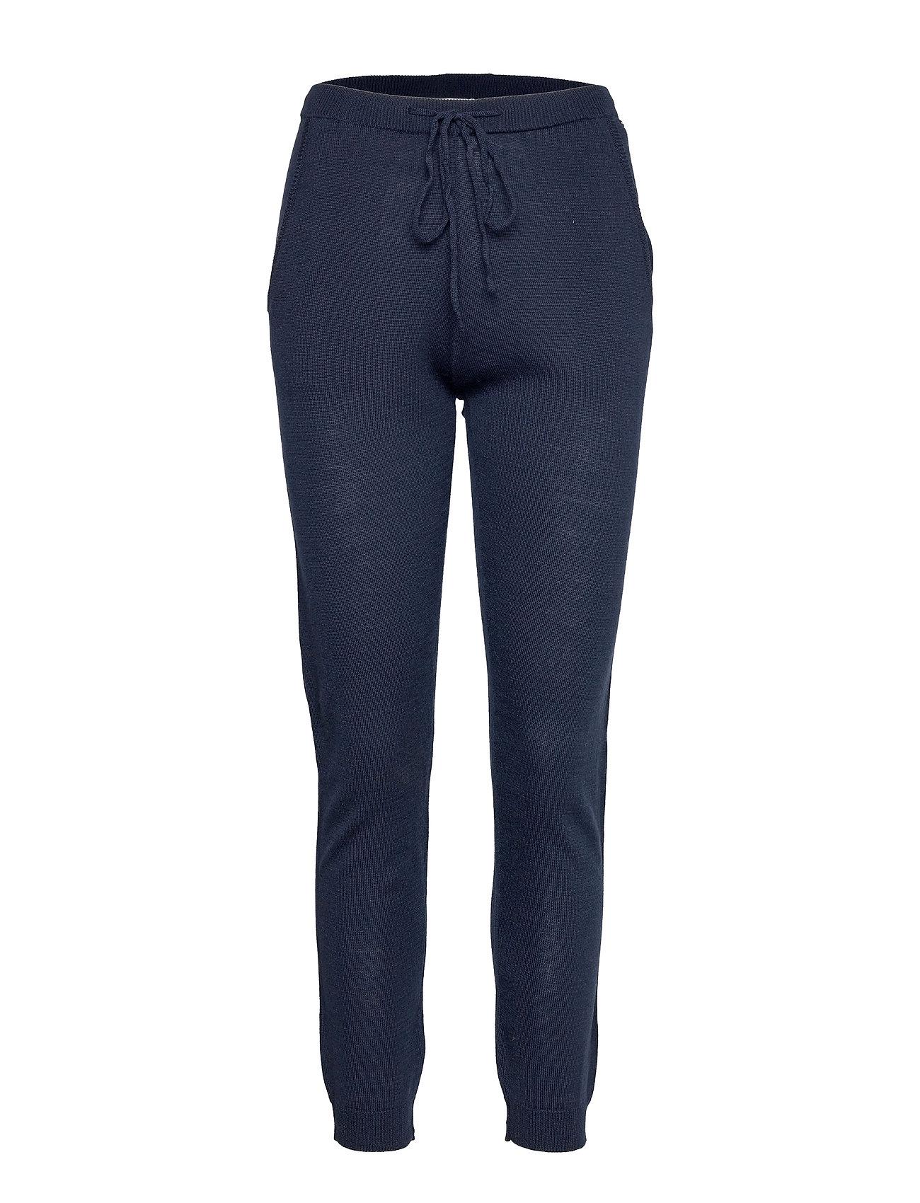 Merino Trousers Casual Bukser Blå Rosemunde