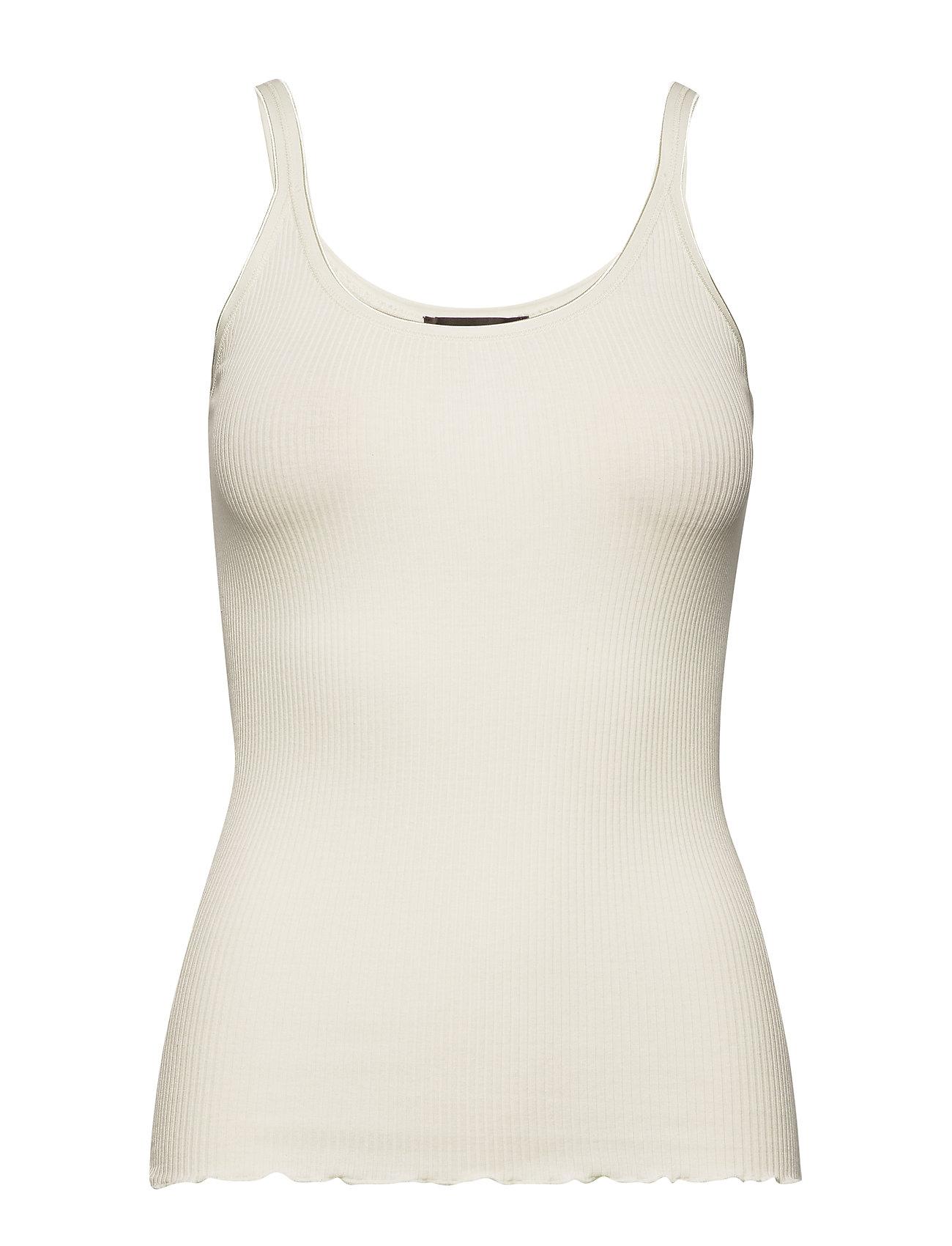 Image of Silk Top Regular Length W/ Elastic Top Ærmeløs Top Creme Rosemunde (3376464779)
