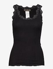 Rosemunde - Organic top w/ lace - linnen - black - 0