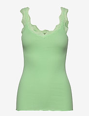 Rosemunde - Organic top regular w/ lace - ermeløse topper - green ash - 0