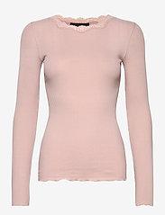 Rosemunde - Organic t-shirt regular w/lace - långärmade toppar - vintage powder - 0
