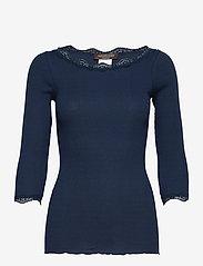 Rosemunde - Organic t-shirt boat neck w/lace - långärmade toppar - navy - 0