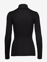 Rosemunde - Silk t-shirt regular ls roller neck - turtlenecks - black - 1