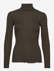 Rosemunde - Silk t-shirt regular ls roller neck - turtlenecks - black green - 0