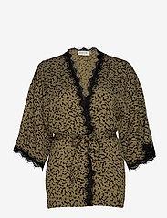 Rosemunde - Jacket 3/4 s - kimona - green blurred blossom print - 0