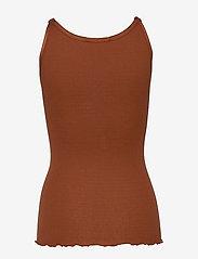 Rosemunde - Silk top regular w/elastic band - ermeløse topper - amber brown - 1