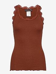 Silk top regular w/vintage lace - AMBER BROWN